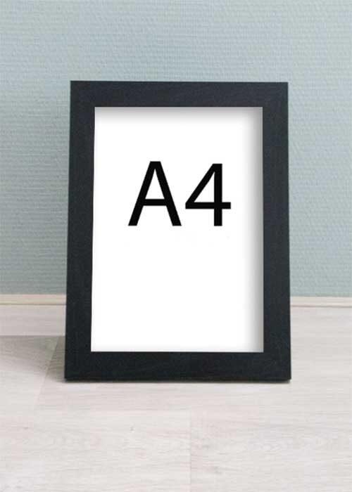 Zwarte houten wissellijst - A4 formaat