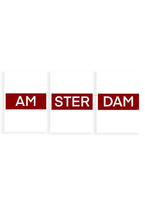 AMS TER DAM Amsterdam tekst poster
