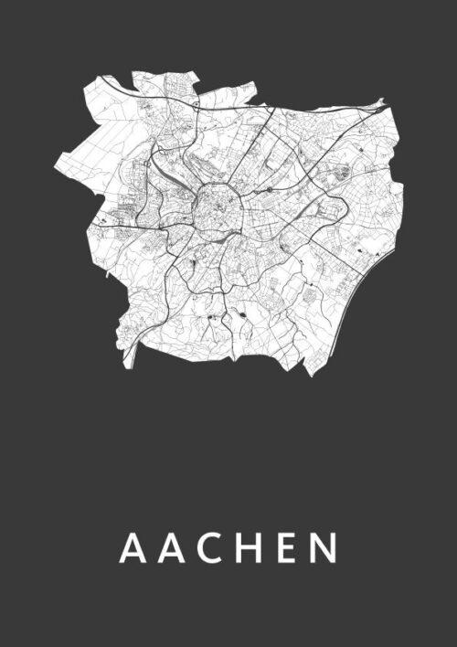 Aachen Black City Map