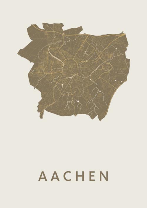 Aachen Gold stadskaart poster