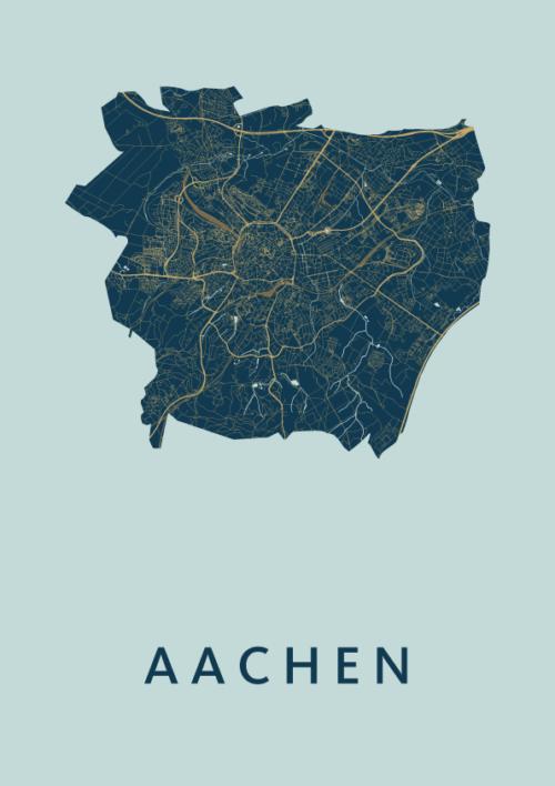 Aachen Prussian stadskaart poster