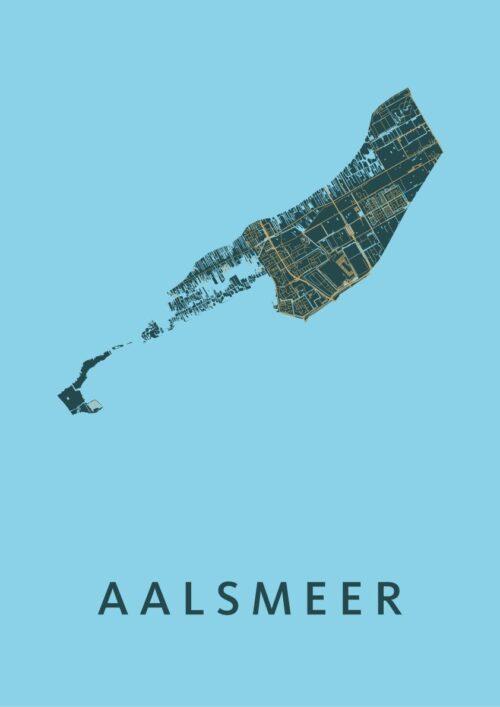 Aalsmeer Azure Stadskaart Poster
