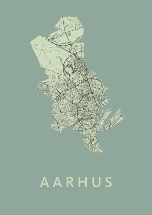 Aarhus Olive Stadskaart Poster | Kunst in Kaart