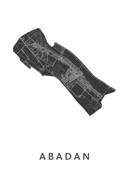 Abadan Stadskaart - Wit