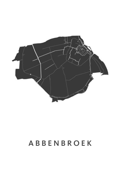 Abbenbroek Stadskaart - Wit | Kunst in Kaart