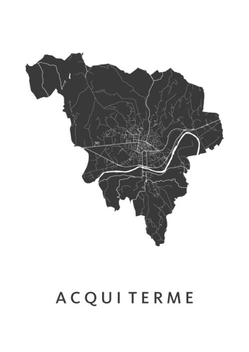 Acqui Terme Stadskaart - Wit | Kunst in Kaart