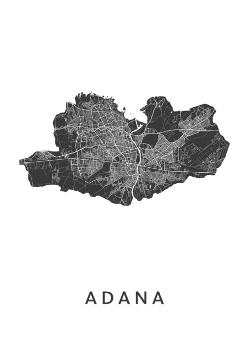 Adana Stadskaart - Wit | Kunst in Kaart
