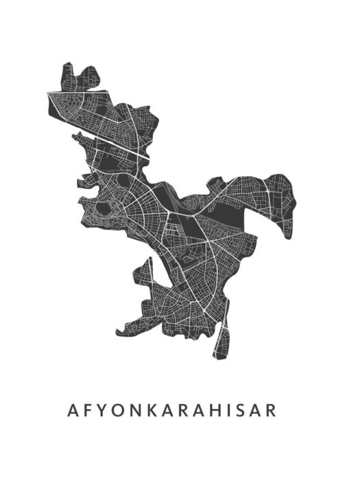 Afyonkarahisar Stadskaart poster   Kunst in Kaart