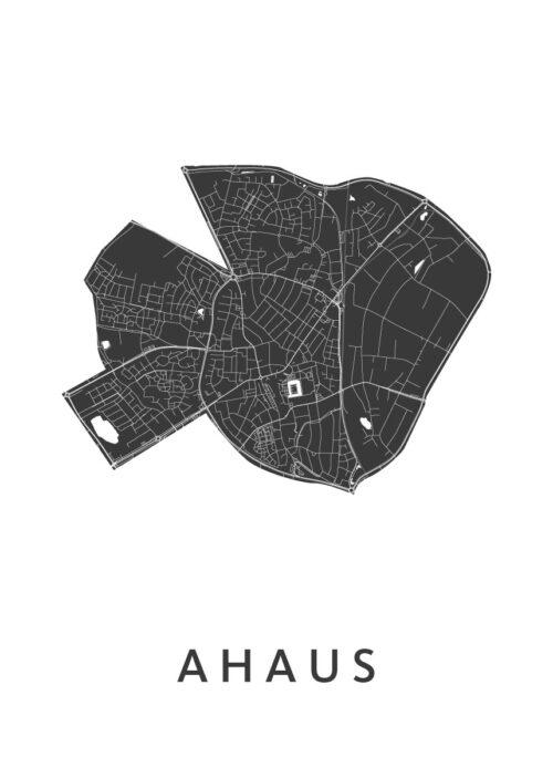 Ahaus White Stadskaart Poster | Kunst in Kaart
