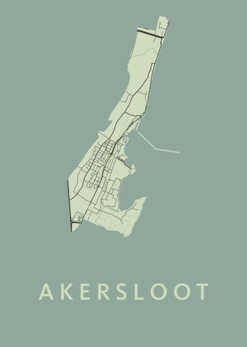 Akersloot Olive Stadskaart Poster | Kunst in Kaart