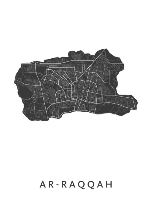 Ar-Raqqah White Stadskaart poster
