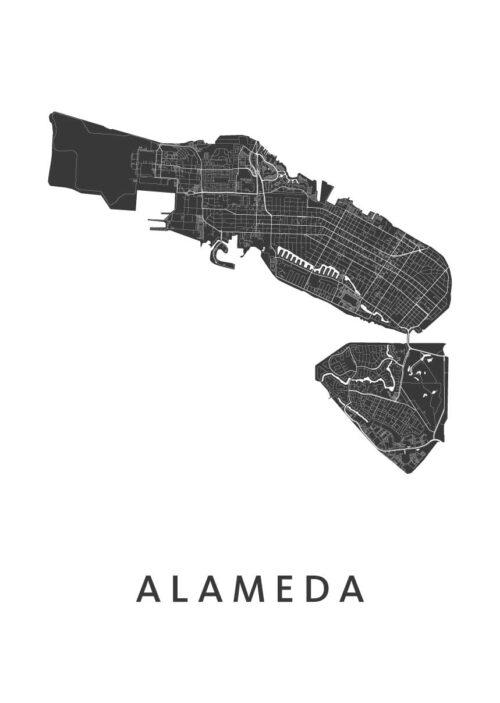 Alameda Stadskaart poster   Kunst in Kaart