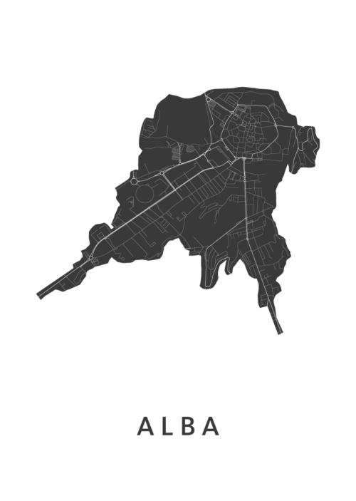 Alba Stadskaart - Wit | Kunst in Kaart