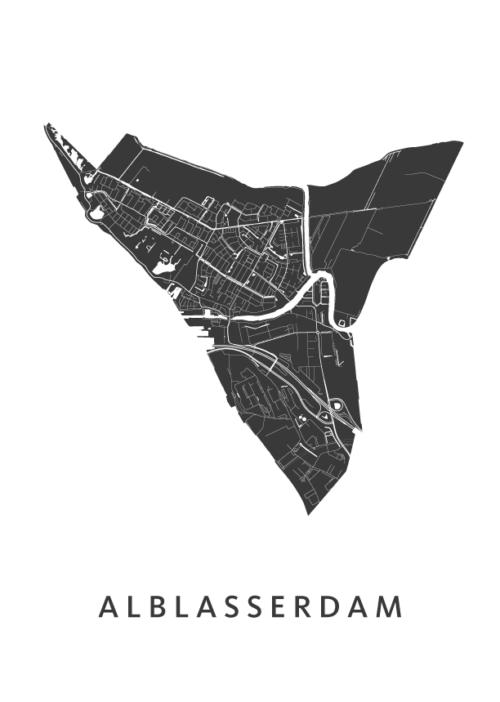 Alblasserdam Stadskaart poster | Kunst in Kaart