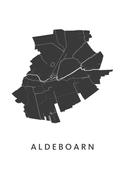 Aldeboarn Stadskaart - Wit | Kunst in Kaart