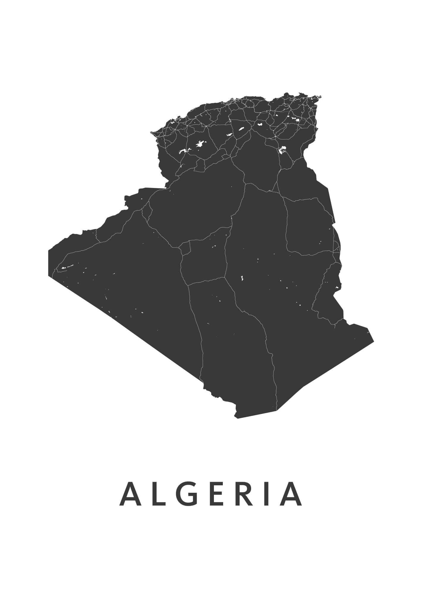 Algeria Country Map stadskaart poster