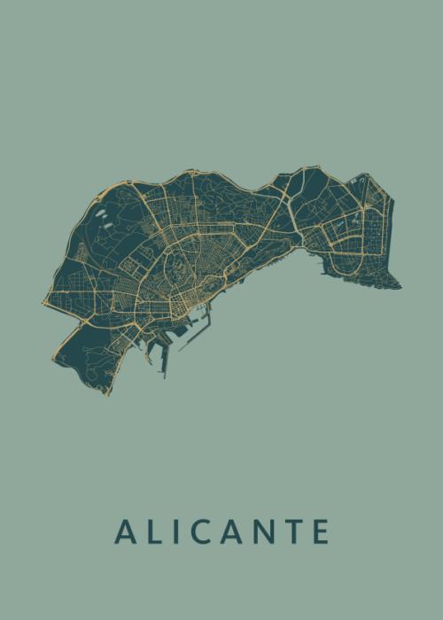 Alicante Amazon Stadskaart Poster   Kunst in Kaart