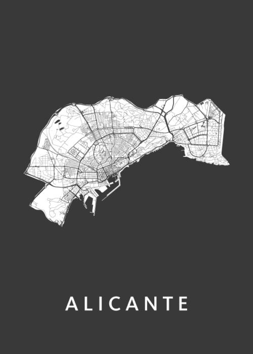 Alicante Black Stadskaart Poster   Kunst in Kaart