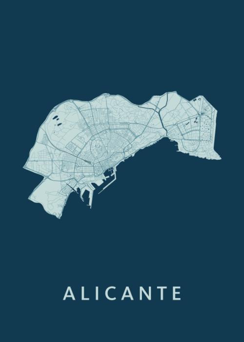 Alicante Feldgrau Stadskaart Poster   Kunst in Kaart