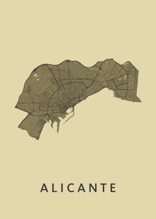 Alicante GoldenRod Stadskaart Poster   Kunst in Kaart