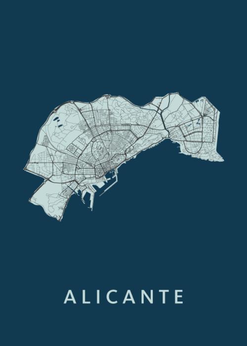 Alicante Navy Stadskaart Poster   Kunst in Kaart