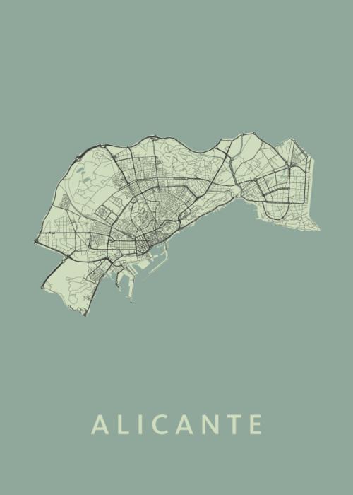 Alicante Olive Stadskaart Poster   Kunst in Kaart