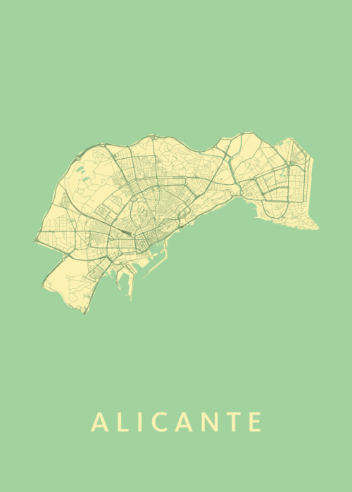 Alicante Spring Stadskaart Poster   Kunst in Kaart
