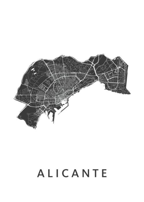 Alicante White Stadskaart Poster   Kunst in Kaart
