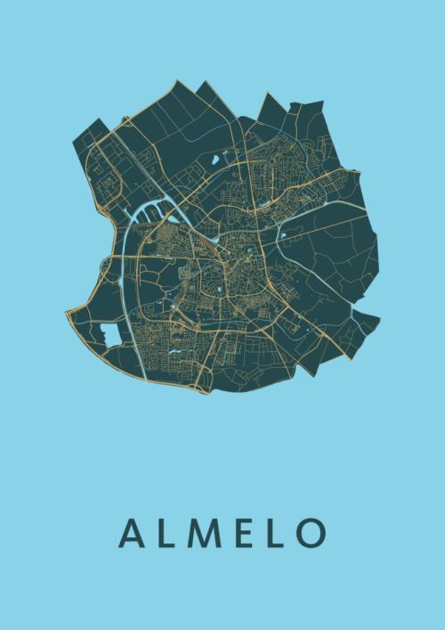 Almelo Azure Stadskaart Poster