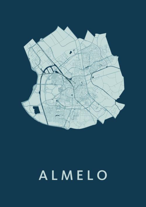 Almelo Feldgrau Stadskaart Poster