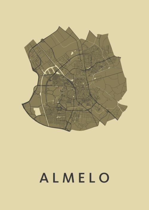 Almelo GoldenRod Stadskaart Poster