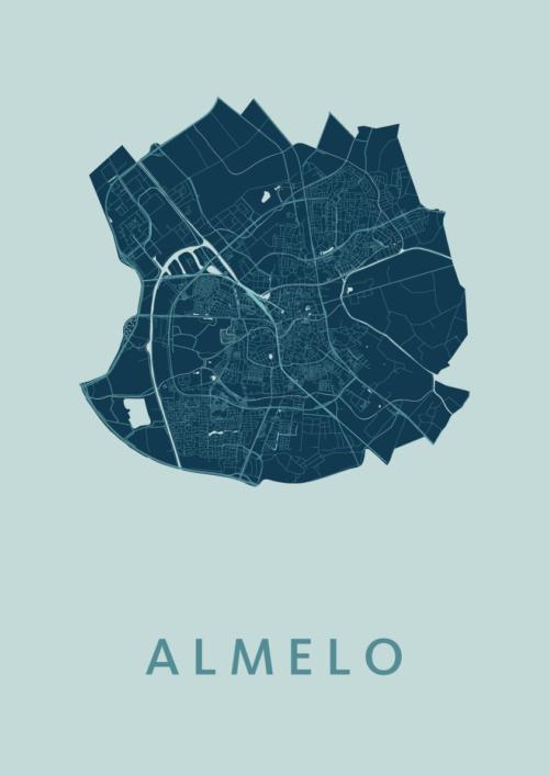 Almelo Mint Stadskaart Poster