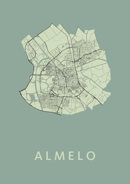 Almelo Olive Stadskaart Poster