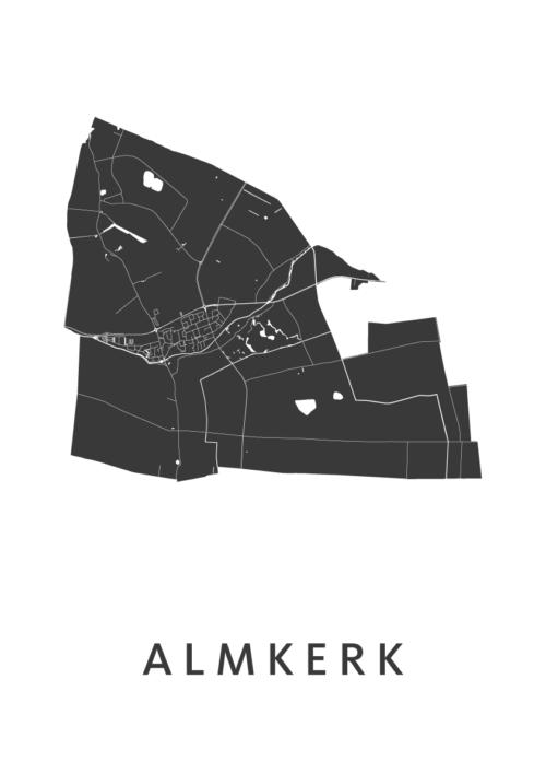 Almkerk White Stadskaart Poster | Kunst in Kaart