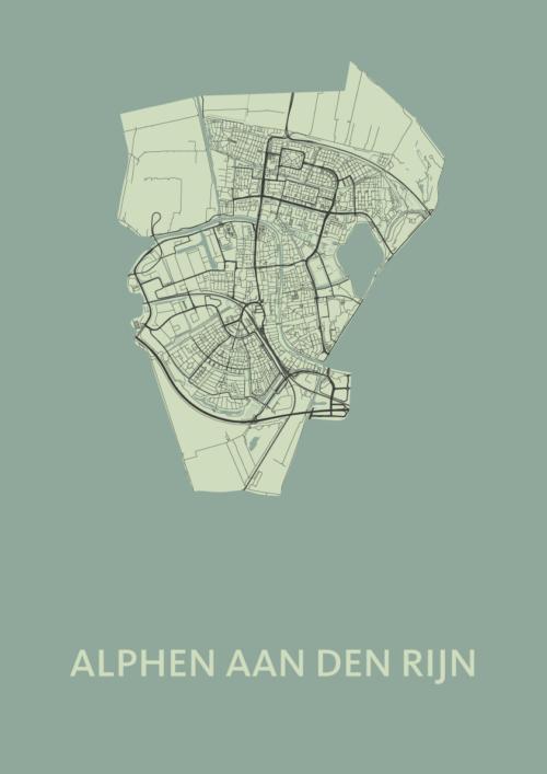 Alphen aan den Rijn Olive Stadskaart Poster