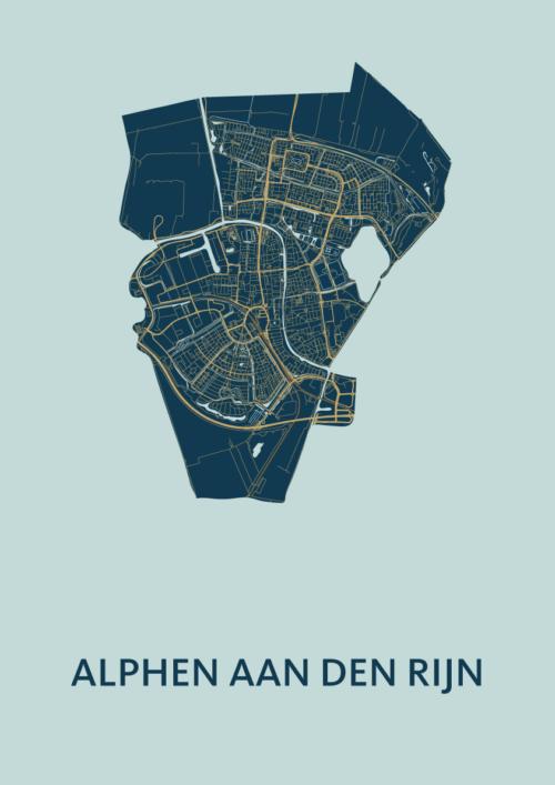 Alphen aan den Rijn Prussian Stadskaart Poster