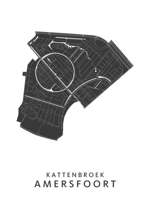 Amersfoort - Kattenbroek Wijkkaart - wit