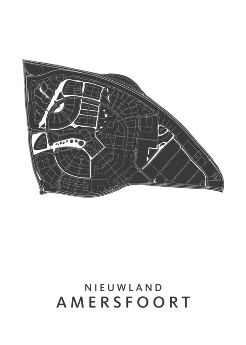 Amersfoort - Nieuwland Wijkkaart - wit