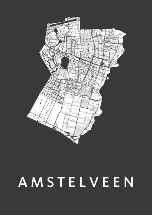 Amstelveen Black Stadskaart Poster