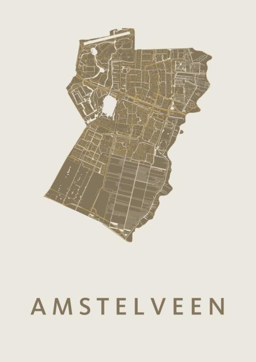 Amstelveen Gold Stadskaart Poster