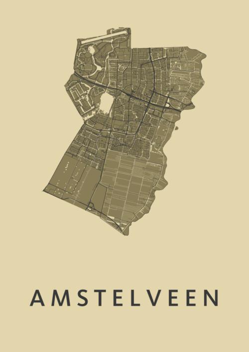 Amstelveen GoldenRod Stadskaart Poster