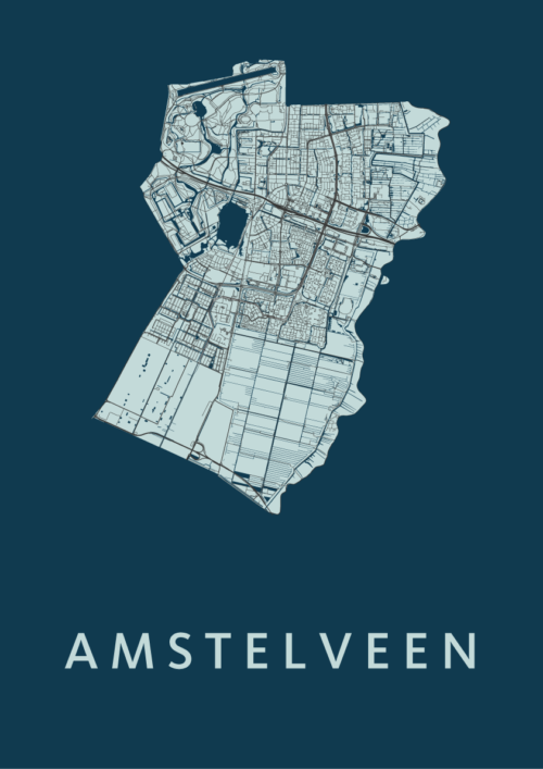 Amstelveen Navy Stadskaart Poster