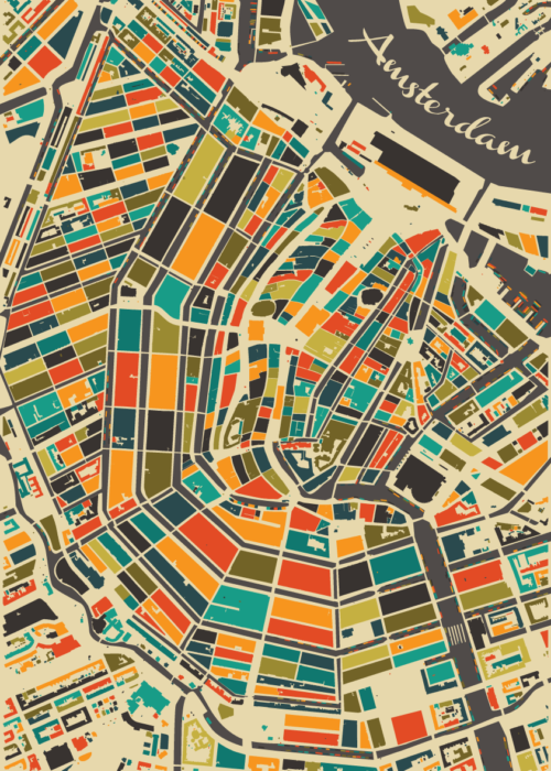 Amsterdam Autumn Mosaic Map