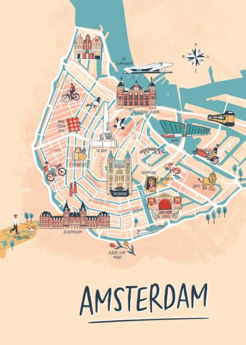 Geïllustreerde kaart - Amsterdam Poster