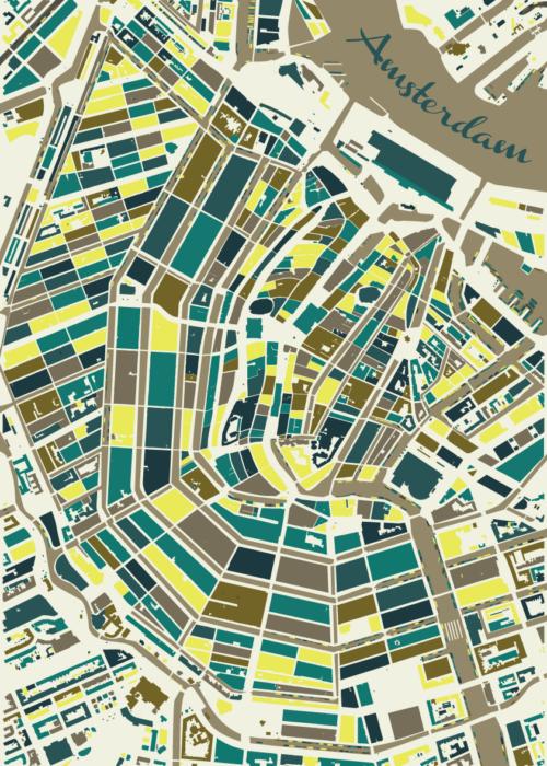 Amsterdam Spring Mosaic Map