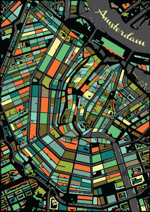 Amsterdam Vintage Mosaic Map
