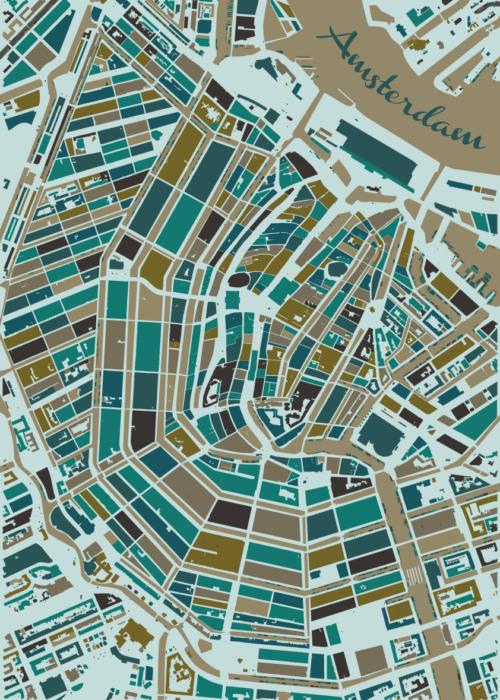 Amsterdam Winter Mosaic Map