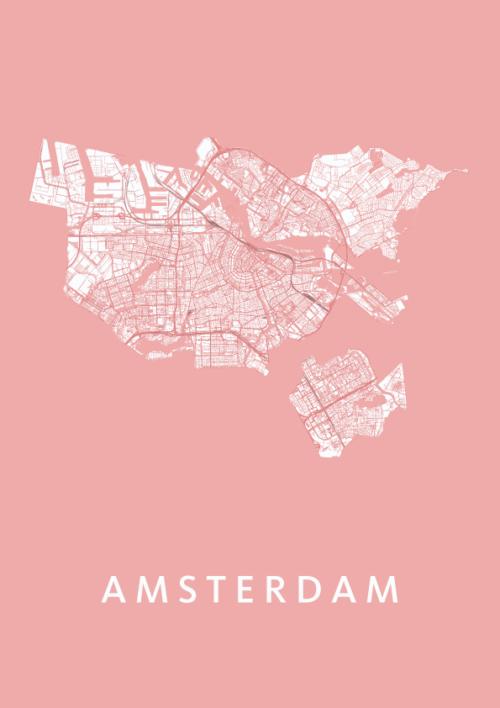 Amsterdam Roze Stadskaart Poster | Kunst in Kaart
