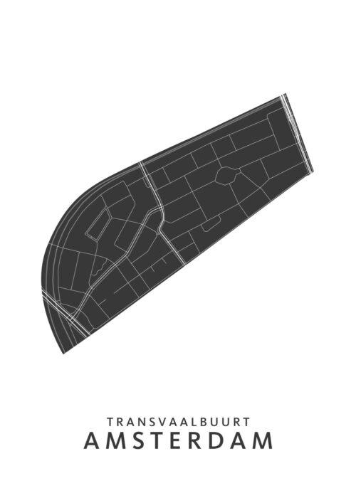 Amsterdam - Transvaalbuurt Wijkkaart - wit