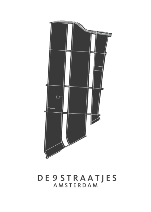 De 9 straatjes wijkkaart Poster